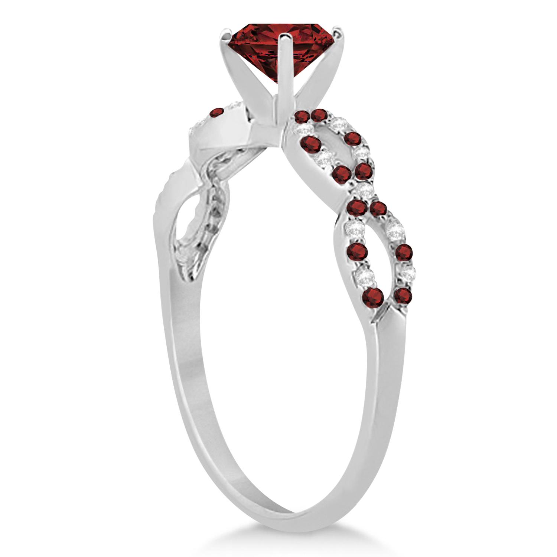 Infinity Diamond & Garnet Engagement Ring 14K White Gold 1.05ct