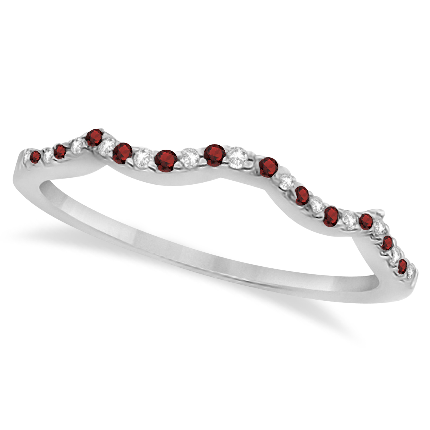 diamond garnet contour wedding band 14k white gold 024ct - Garnet Wedding Ring