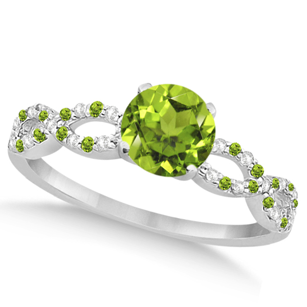 Infinity Diamond & Peridot Engagement Ring 14K White Gold