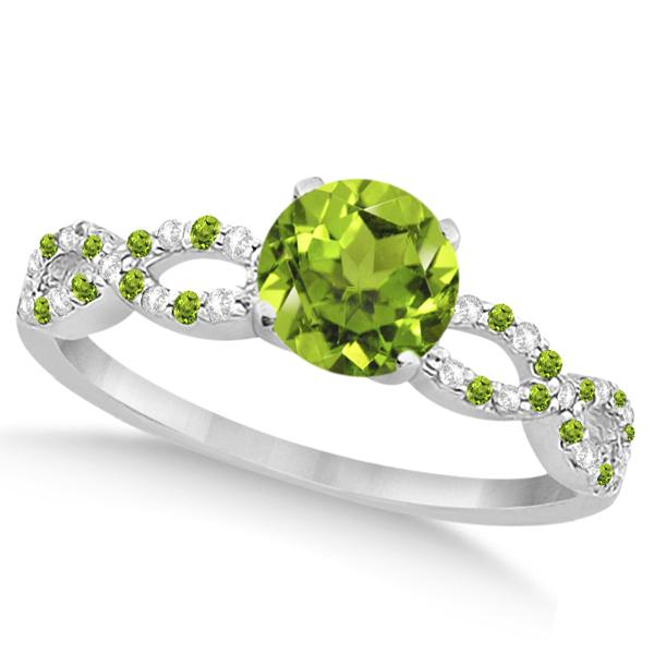 Peridot & Diamond Infinity Style Bridal Set 14k White Gold 1.25ct
