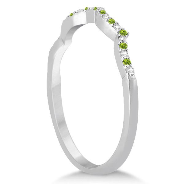 Diamond & Peridot Contour Wedding Band 14K White Gold 0.24ct