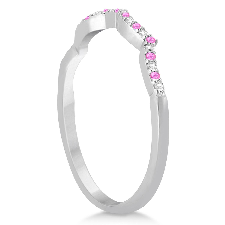 Pink Sapphire & Diamond Infinity Style Bridal Set 14k W. Gold 1.69ct