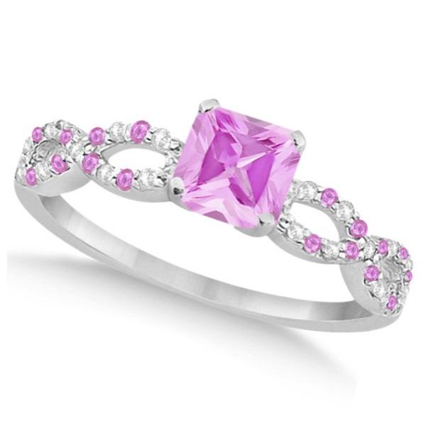 Pink Sapphire & Diamond Princess Infinity Bridal Set 14k W Gold 1.74ct