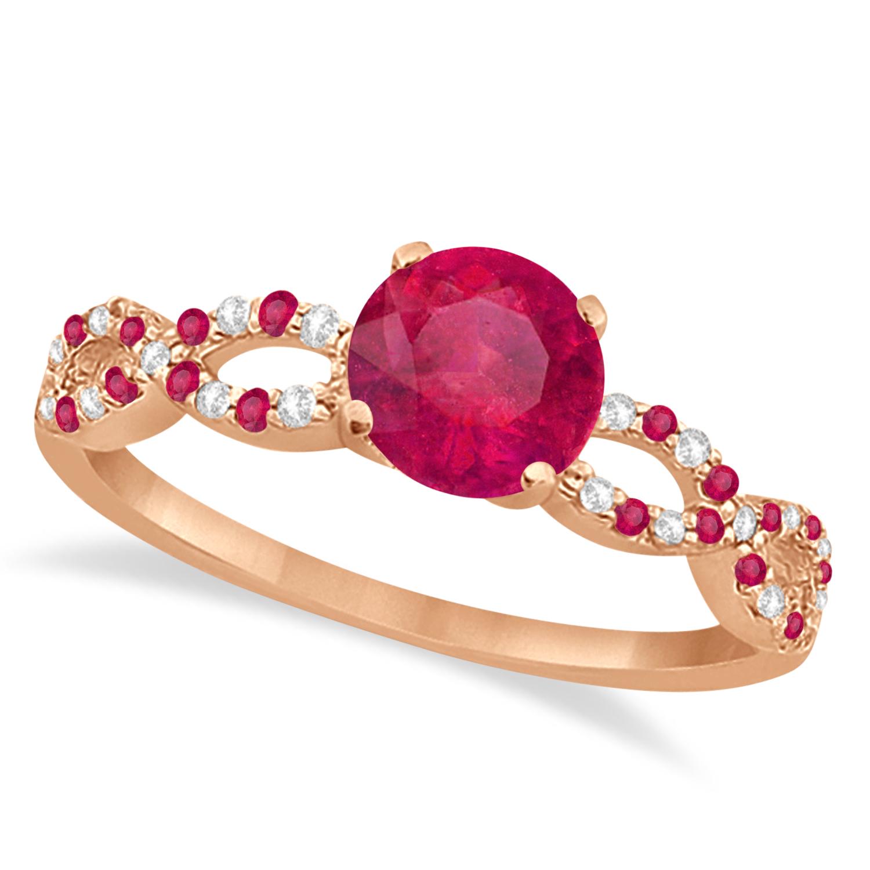 Infinity Diamond & Ruby Engagement Ring 14K Rose Gold 1.05ct