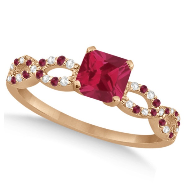 Ruby & Diamond Princess Infinity Style Bridal Set 14k Rose Gold 1.75ct