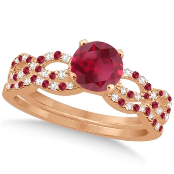 Ruby & Diamond Infinity Style Bridal Set 14k Rose Gold 1.69ct