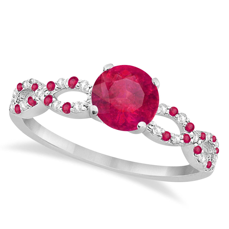 Infinity Style Preset Ruby & Diamond Bridal Set 14k White Gold 1.29ct