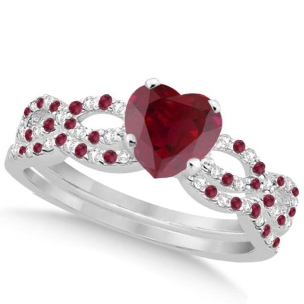 Ruby & Diamond Heart Infinity Style Bridal Set 14k White Gold 1.74ct