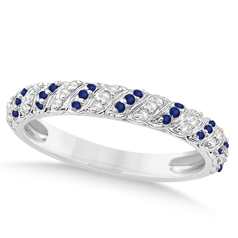 Blue Sapphire Diamond Swirl Wedding Band 14k White Gold 0 24ct U9021