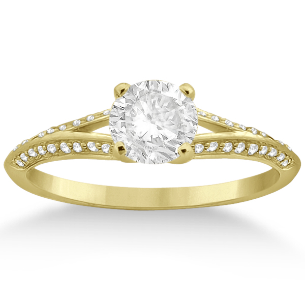 Knife Edge Diamond Engagement Ring 14k Yellow Gold Setting (0.18ct)