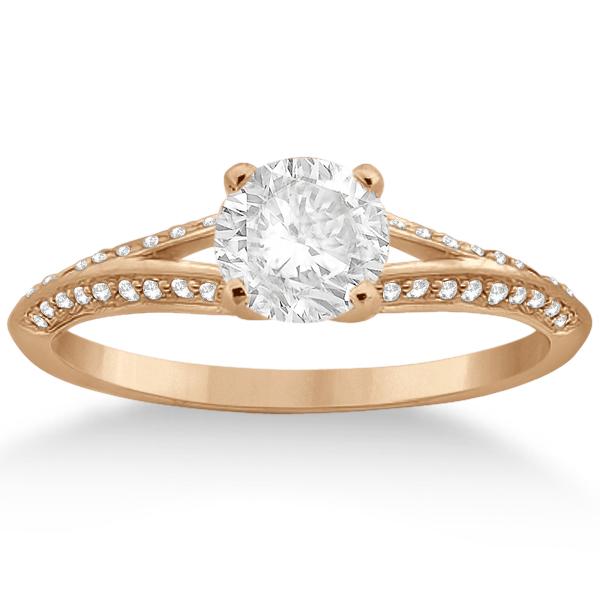 Knife Edge Diamond Engagement Ring 18k Rose Gold Setting (0.18ct)
