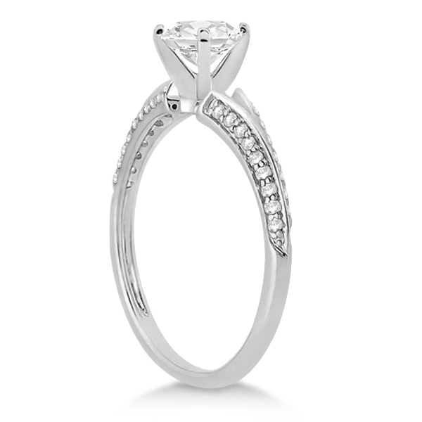 Knife Edge Diamond Engagement Ring with Band 18k White Gold (0.40ct)