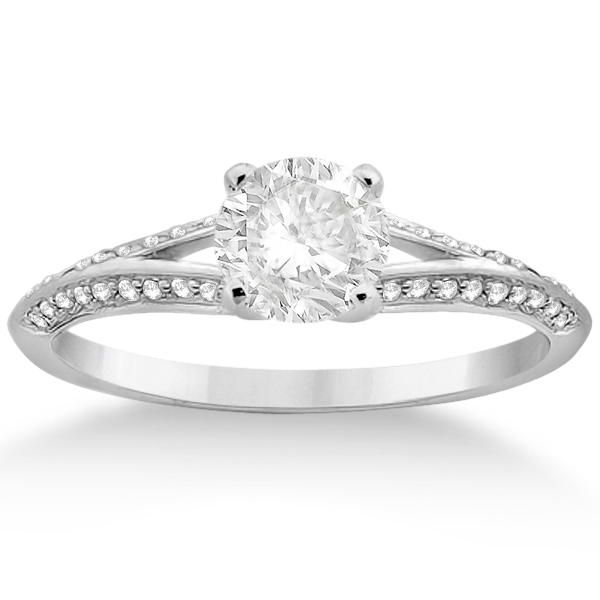 Knife Edge Diamond Engagement Ring with Band Palladium (0.40ct)