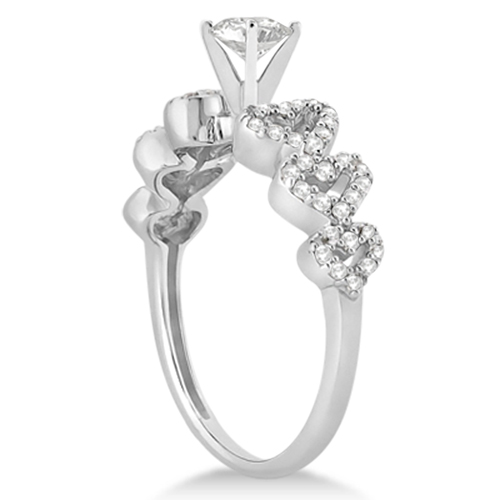Heart Shape Diamond Engagement Ring Setting 14k White Gold (0.30ct)