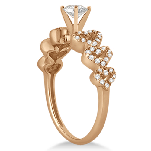 Heart Shape Diamond Engagement Ring Setting 18k Rose Gold (0.30ct)