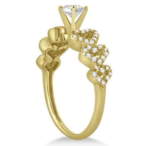 Heart Shape Diamond Engagement & Wedding Ring 14k Yellow Gold (0.50ct)