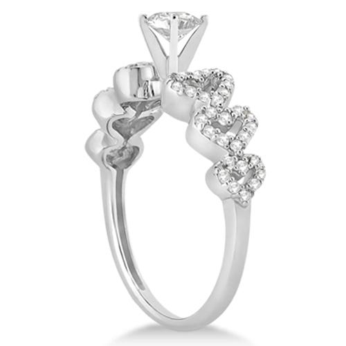 Heart Shape Diamond Engagement & Wedding Ring 18k White Gold (0.50ct)
