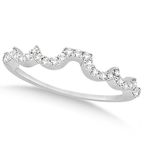 Heart Shape Contoured Diamond Wedding Ring 14k White Gold (0.20ct)