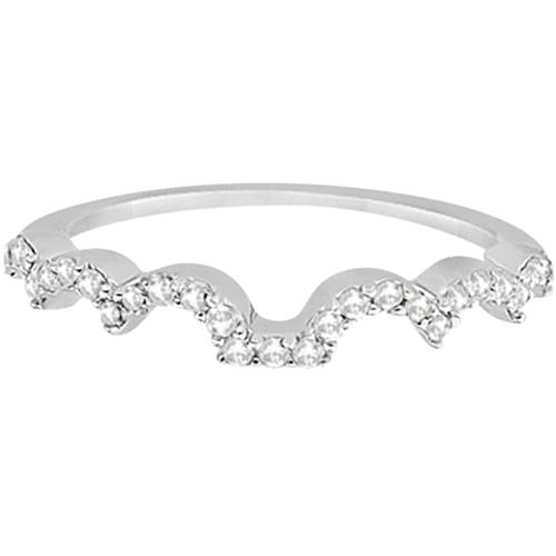 Heart Shape Contoured Diamond Wedding Ring 18k White Gold (0.20ct)