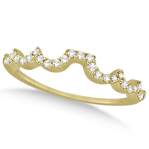 Heart Shape Contoured Diamond Wedding Ring 18k Yellow Gold (0.20ct)