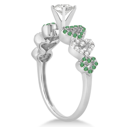Emerald & Diamond Heart Engagement Ring Setting 14k White Gold 0.30ct