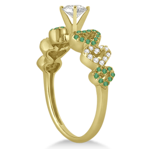 Emerald & Diamond Heart Engagement Ring Setting 14k Yellow Gold 0.30ct