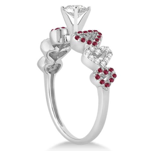 Ruby & Diamond Heart Engagement Ring Setting 14k White Gold (0.30ct)