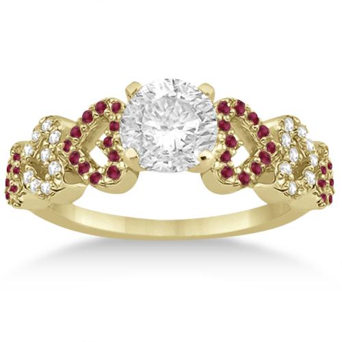Ruby & Diamond Heart Engagement Ring setting 14k Yellow Gold (0.30ct)