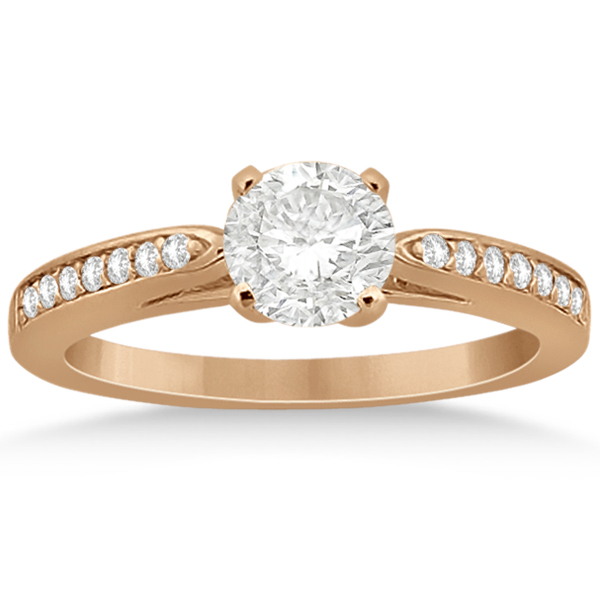 Petite Half-Eternity Diamond Engagement Ring 14k Rose Gold (0.14ct)