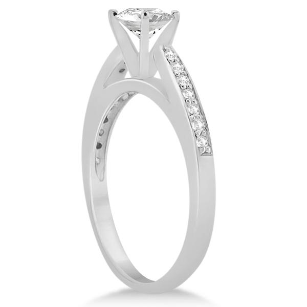 Petite Half-Eternity Diamond Engagement Ring 14k White Gold (0.14ct)