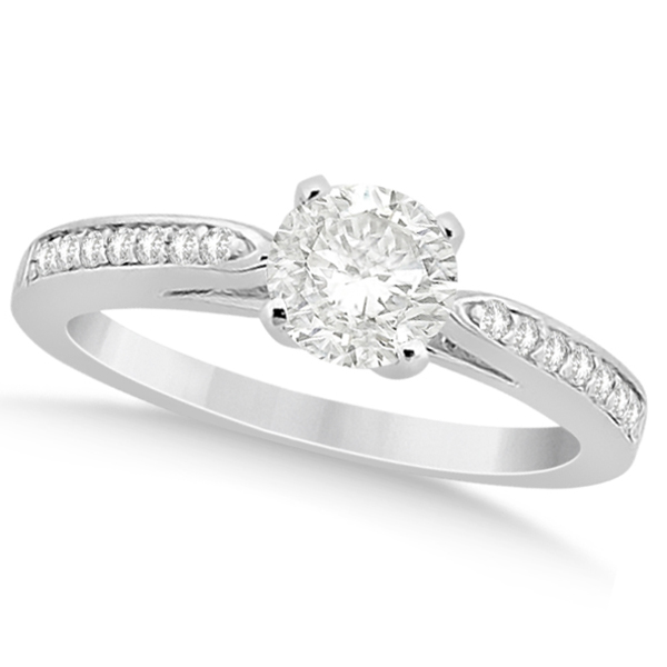 Petite Half-Eternity Diamond Engagement Ring 18k White Gold (0.14ct)