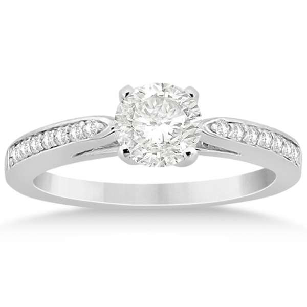Petite Half-Eternity Diamond Engagement Ring Platinum (0.14ct)