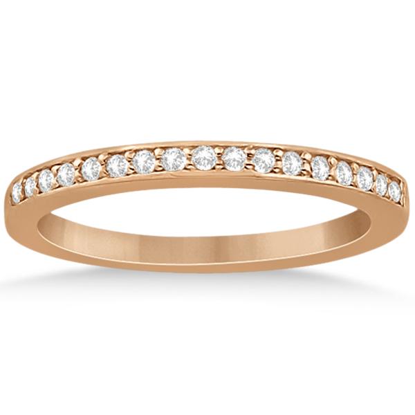 Petite Half-Eternity Diamond Wedding Band in 14k Rose Gold (0.17ct)