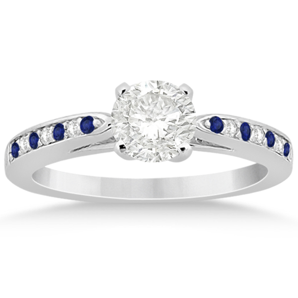 Cathedral Blue Sapphire Diamond Engagement Ring Platinum 0.26ct