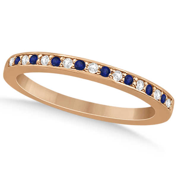 Blue Sapphire & Diamond Engagement Ring Set 14k Rose Gold (0.55ct)