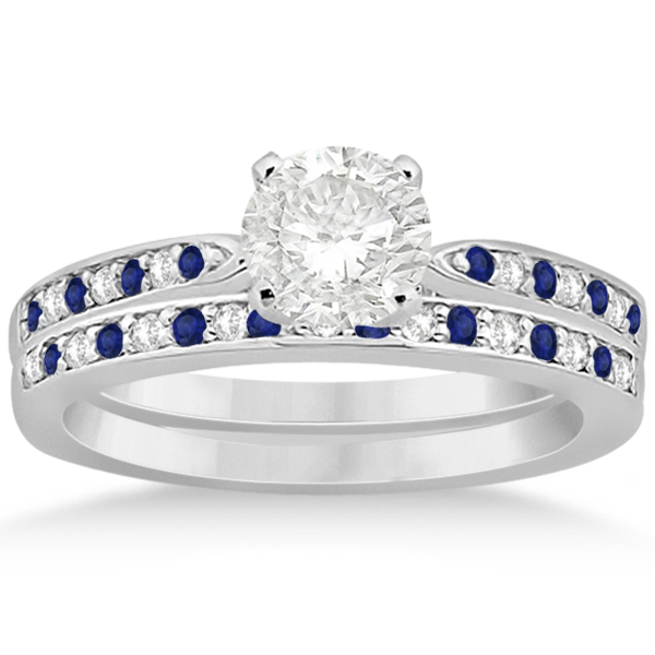 Blue Sapphire & Diamond Engagement Ring Set 18k White Gold (0.55ct)