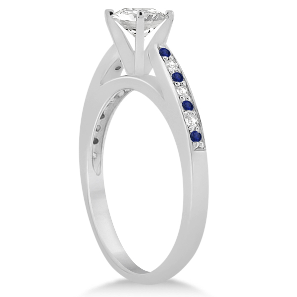 Blue Sapphire & Diamond Engagement Ring Set Platinum (0.55ct)