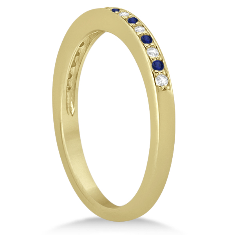 Cathedral Blue Sapphire & Diamond Wedding Band 14k Yellow Gold 0.29ct