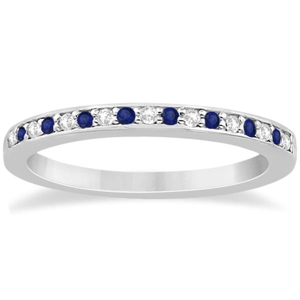 Cathedral Blue Sapphire & Diamond Wedding Band 18k White Gold 0.29ct