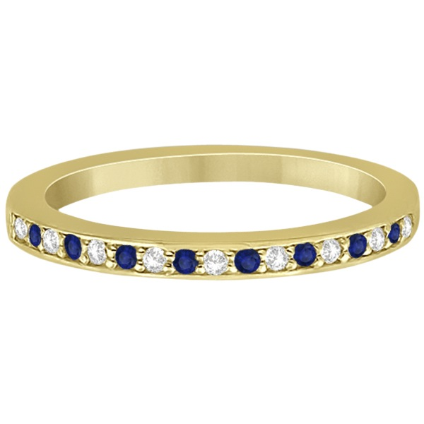 Cathedral Blue Sapphire & Diamond Wedding Band 18k Yellow Gold 0.29ct