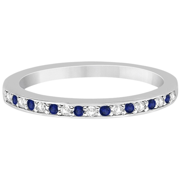 Cathedral Blue Sapphire & Diamond Wedding Band Platinum 0.29ct