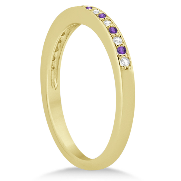 Amethyst & Diamond Wedding Band 18k Yellow Gold 0.29ct