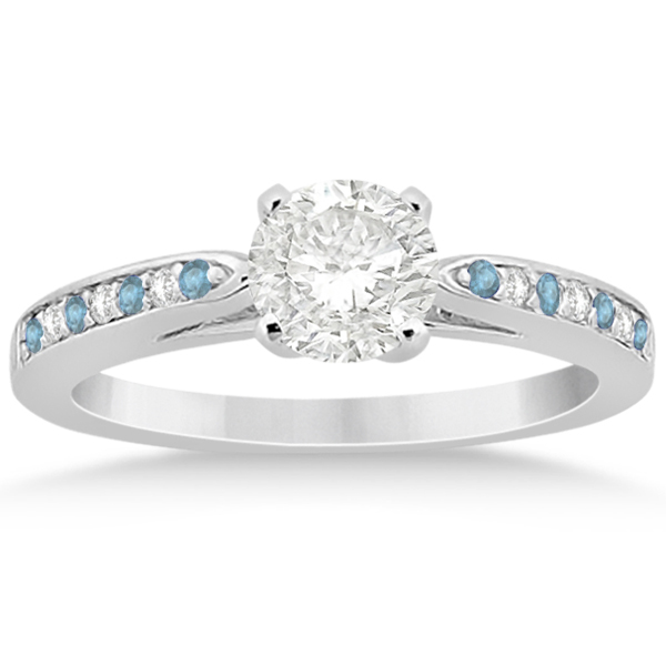 Aquamarine & Diamond Engagement Ring 18k White Gold 0.26ct