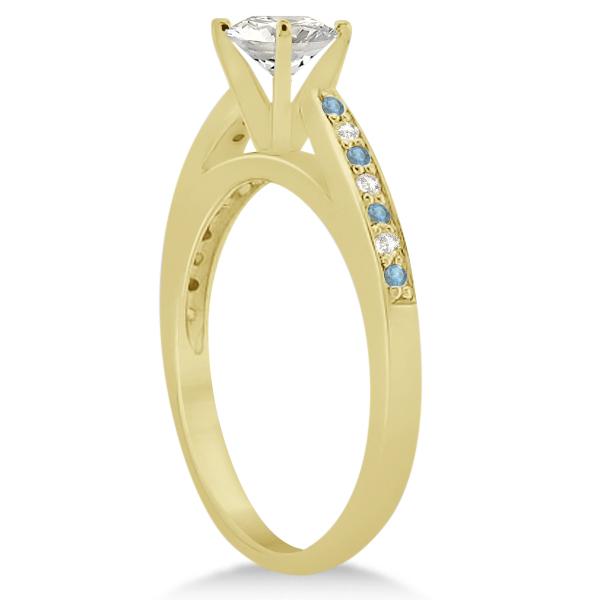 Aquamarine & Diamond Engagement Ring 18k Yellow Gold 0.26ct