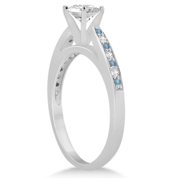 Aquamarine & Diamond Engagement Ring Palladium 0.26ct