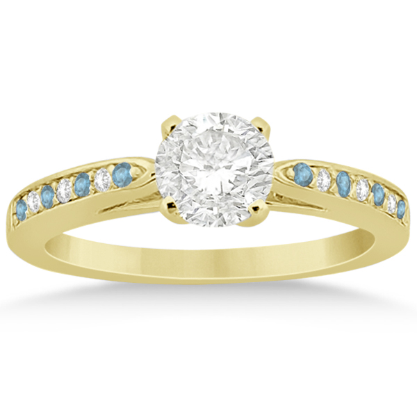 Aquamarine & Diamond Engagement Ring Set 18k Yellow Gold (0.55ct)