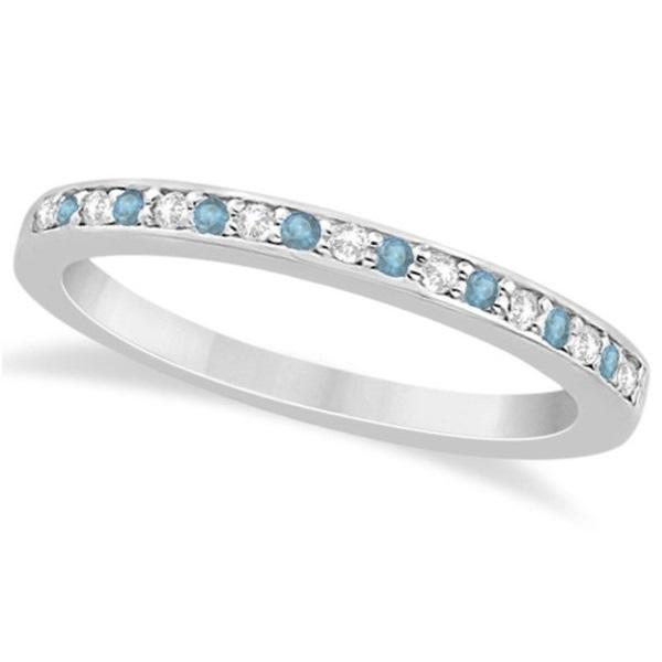 Aquamarine & Diamond Wedding Band 14k White Gold 0.29ct