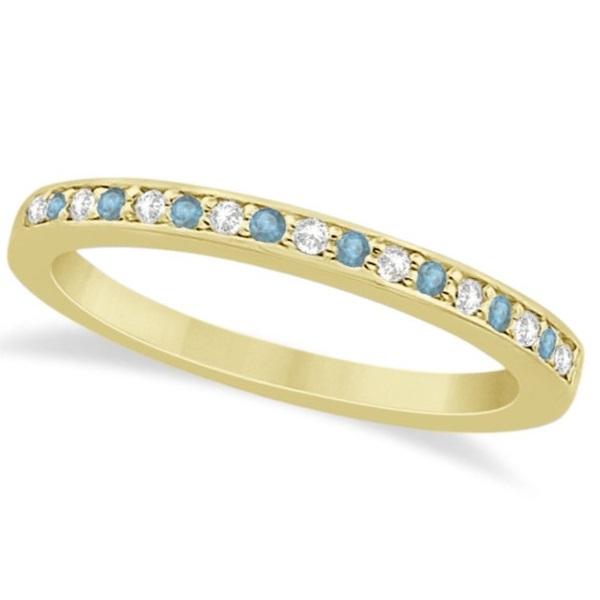 Aquamarine & Diamond Wedding Band 14k Yellow Gold 0.29ct