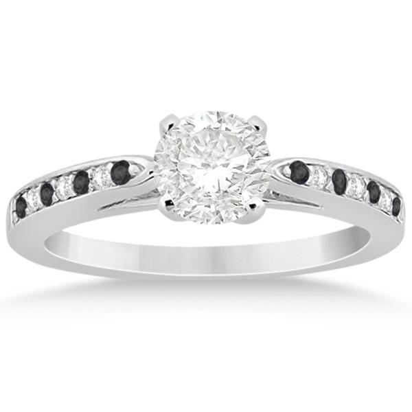 Black & White Diamond Engagement Ring Palladium 0.26ct