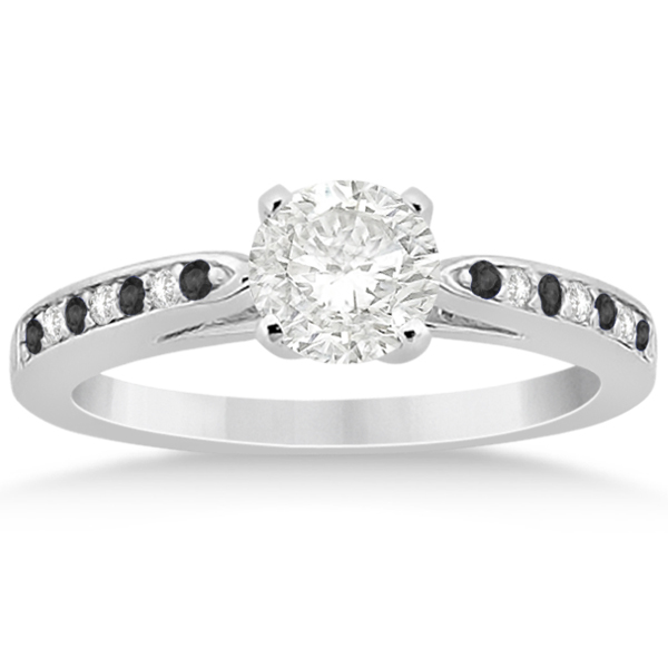 Black & White  Diamond Engagement Ring Platinum 0.26ct